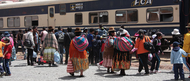 Bigstock-Crowd at the Tiwanaku Train station in Bolivia, South America