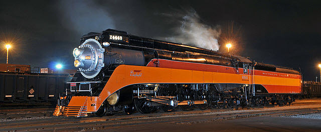 Southern Pacific 4449 under steam in Tacoma, Wash. in June 2011 by Drew Jacksich from San Jose, Calif., via Wikimedia Commons