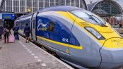 The Eurostar train having just arrived at Amsterdam